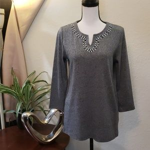 Rafaella salt & pepper top with rhinestones